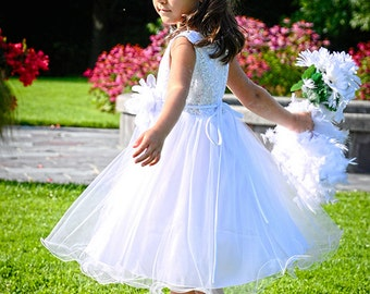 WHITE Sequin Flower Girl Dress Communion Dress Junior Bridesmaid Dress Pageant Dance recital Birthday Beby Girl Dress Girls Dresses