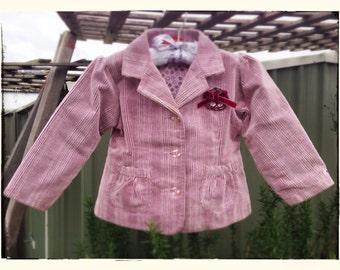 Gorgeous Vintage Style Corded Pink Girls Blazer