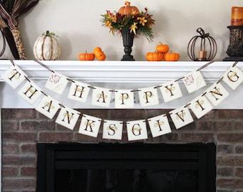 Happy Thankgiving Banner • Thanksgiving Garland • Thanksgiving Banner • Fall Banners • Fall Decor • Fall Decoration • Thanksgiving Decor