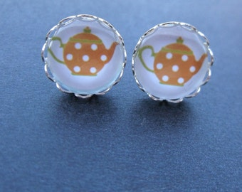 Polka Dot Orange Teapot Glass Cabochon Silver Plated Stud Earrings