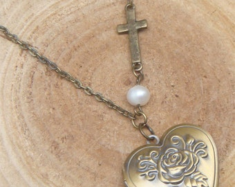 Antique Brass Cross Pearl Locket Necklace Victorian Jewelry Gift Vintage Style