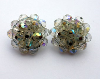 Vintage Funky Clear AB Beaded Clip On Earrings