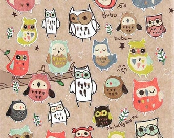 Korean Scrapbook stickers--Owl