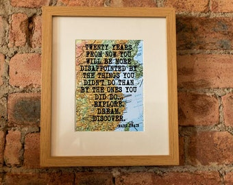 Mark Twain Inspirational Travel Quote Print - Hand-Pulled Screenprint.