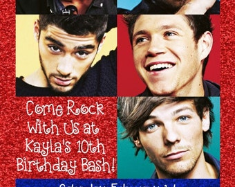 One Direction Invitation - Red, White, Blue