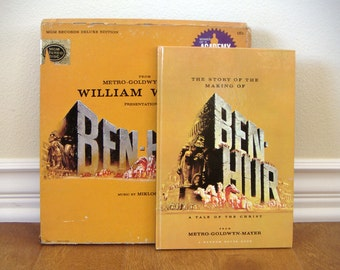 Ben Hur Vinyl Record Album - MGM Records Deluxe Edition with Original Sound Track and Storybook