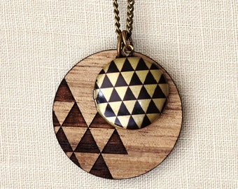 SALE - Triangles - Geometric Wood Necklace with locket - laser cut