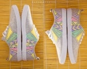 Hand painted Women Canvas Shoes, Sneakers: Sunrise Geometry