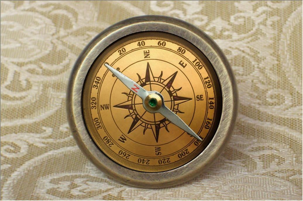 Compass Drawer Knobs Antique Bronze Crystal Dresser Knob