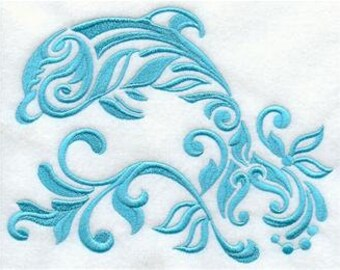 6pc Bath towel Set -  Damask Dolphin - Embroidered, more colors available