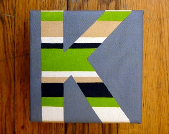 Letter K 4x4in Square Painting