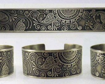 "1"" Henna design etched metal cuff bracelet."