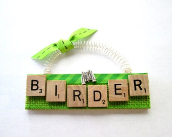 Birder Bird Watching Scrabble Tile Ornament