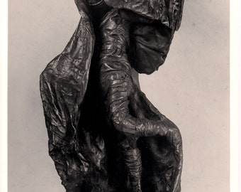 """Cloaked Figure - Unique, One of a Kind Abstract Sculpture Cast in Bonded Bronze.  19' x 9"""" x 8.5"""""""