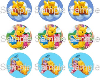 "15 1"" - Precut Bottle Cap Images - Winnie The Pooh Inspired"