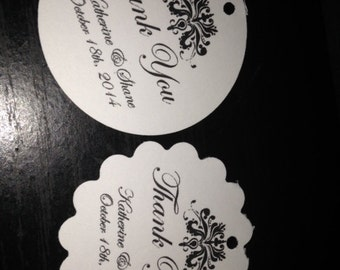 Elegant Round Scalloped Damask Personalized Wedding Favor Thank You Tags Gift Tag