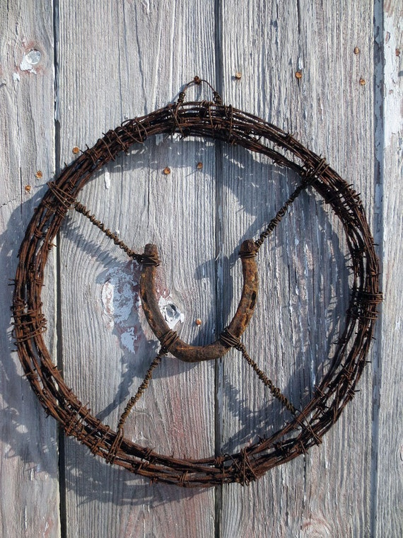 Barb Wire Wreath W Hand Wired Horseshoe Prairie Style Or