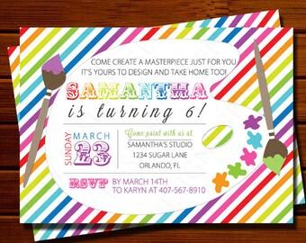 Art Birthday Party Invitation, Paint Party Invitation - Birthday, Any Age, Rainbow, Printable, Digital