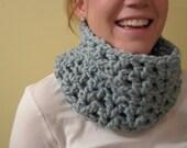 Crochet Cowl chunky wool in Light Blue