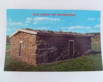 """Vintage Postcard """"Soddy"""" Pioneer, Prairee,History Unused"""