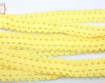 2cm Yellow Elastic Lace Trim 3 Yards #E012