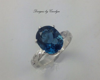 3 CT London Blue Topaz Sterling Silver Ring CSS141R