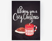 Holiday Christmas Card - Cozy Festive Handmade Xmas Card Print