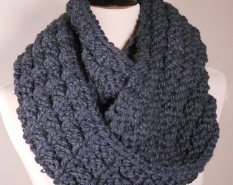 Soft Wool Chunky Knit Infinity Scarf, Knit Cowl, Knit Snood, Chunky Knit Scarf, Blue - Ready to Ship