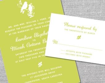 Printable Wedding Invitation and Reply Card   5x7/3.5x5   Love Birds