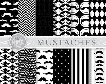 "MUSTACHES Digital Paper: ""BLACK & WHITE Mustache"" Patterns Print, Mustaches Paper Pack Pattern Scrapbook Print, Instant Download"
