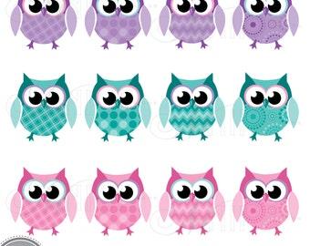 Purple owl clipart | Etsy