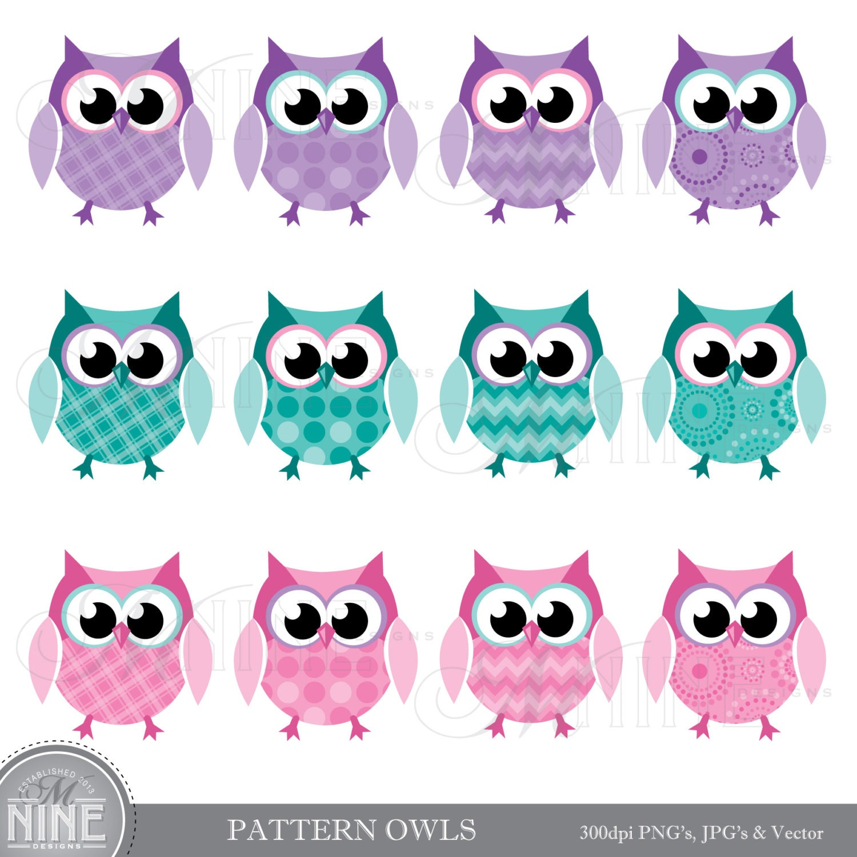 PATTERN OWLS Clip Art Digital Clipart, Instant Download ...