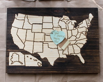 United States Wood Map with Map Pins