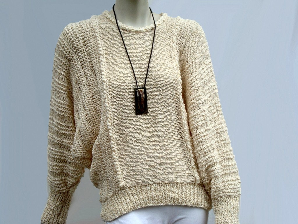 Knitted Sweater-Cotton Sweater-Slouchy Knit Sweater-Loose Knit