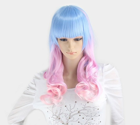 Long curly light blue and pink wig. Synthetic wig -high quality wig ...