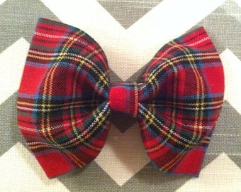 Baby boy bow tie-Red Plaid Bow Tie-Plaid Bow Tie-Clip-On