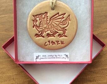 Welsh Dragon Cymru handmade ceramic decorative disc made in Wales!