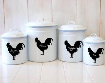 Rooster Chalkboard Canister Labels - Set  of 6 - Chicken Mason Jar Labels Farm