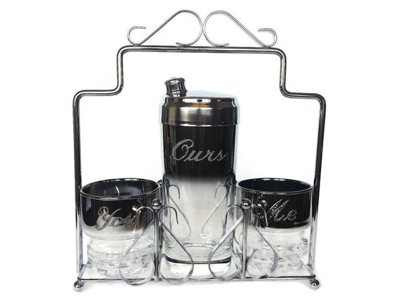 SALE! Silver Ombre Bar Set, Mid Century Cocktails, Cocktail Shaker, You, Me, Ours Glasses, Wedding Gift