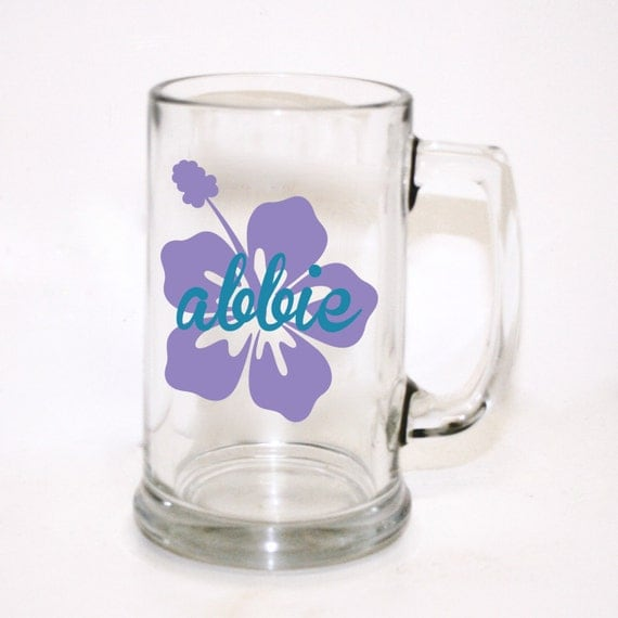 Personalized Beer Mugs Wedding Gift : Custom Flower Beer Mug, Custom Wedding Party Gift, Custom Beer Glass ...