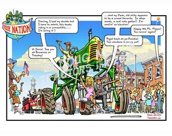 """8.5""""x11"""" Color Print of Ollie Nation Cartoon. (ON5-66 Stilty)"""