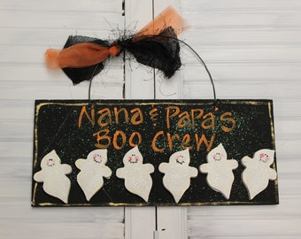 Halloween Ghosts Hand Painted Wood Sign