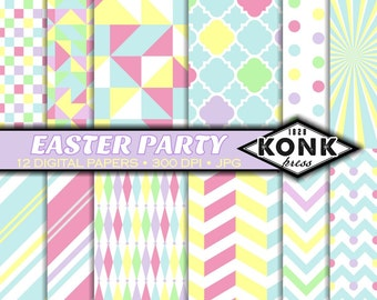 12 Digital Easter scrapbook paper pack , JPG, 300 dpi, 12x12 inch papers