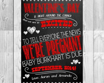 Social Media Chalkboard Pregnancy Announcement | Valentineu0027s Day Themed |  Digital File | By MMasonDesigns
