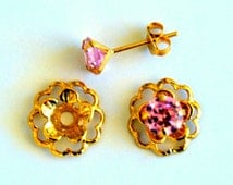 Pink Gold Post Earring Set Includes Pink Cubic Zirconia Posts and Gold Flower Style Earring Jacket