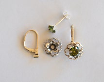 Green Silver Earring Jacket Set  Includes Green Cubic Zirconia Posts Silver Flower Style Earring  Jacket  Earring Convertible