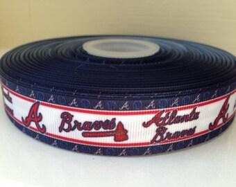 "1/3/5 Yards Atlanta Braves 7/8"" Grosgrain Ribbon"