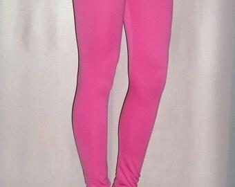 Shiny Pink Leggings / Women Low Waist Leggings / Long Leggings / Sizes S, L