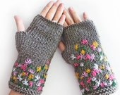 FREE SHIPPING, Grey Stitch Knit Fingerless Gloves, Arm Warmers - SabaKnits