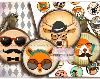 Digital Collage Sheet Cabochon images 1.5 inch 18mm 14mm 1inch circle Printable images Instant download bottle caps Retro C114